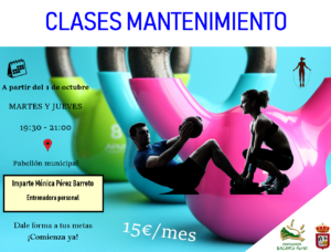 Cartel CLASES MANTENIMIENTO 2