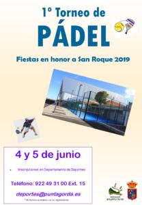 Cartel 1º TORNEO DE PÁDEL San Roque 2019
