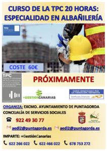 CARTEL TPC 20H ALBAÑILERIA PUNTAGORDA PROXIMAMENTE 2019