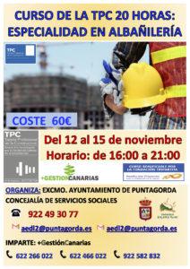 CARTEL TPC 20H ALBAÑILERIA PUNTAGORDA NOVIEMBRE 2019